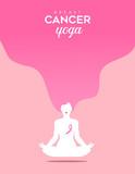 Breast Cancer Awareness woman yoga in lotus pose - 220710259
