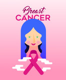 Breast Cancer Awareness design of girl with ribbon - 220710279
