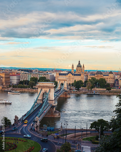 The Széchenyi Chain Bridge during sunset from the Budapest castle in Hungary