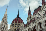 Close up of the Hungarian Parliament Building in Budapest Hungary (Architecture) - 220723458
