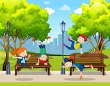 Children practice street dance at park