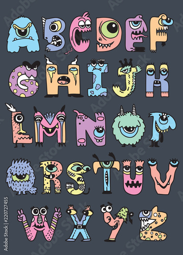 halloweenowy-abecadlo-z-smiesznymi-potworow-charakterami-potwor-kreskowka