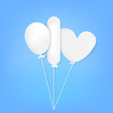 paper cut of three balloon, oval, rectangle and love shape at light gradual background - 220729453