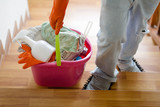 Man cleaning his house by his own. househusband, housekeeping and cleaning house service - 220735640
