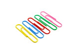 Collection of colorful paper clips close-up isolated on a white background, with clipping path - 220737619