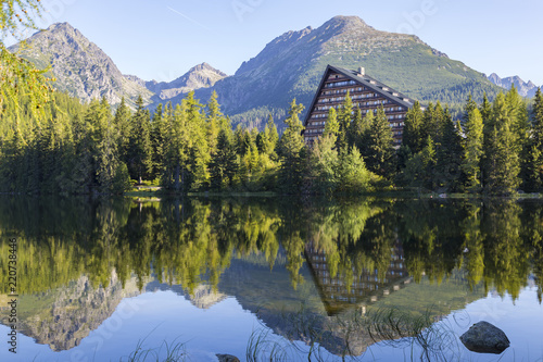 Foto Murales Picturesque mountain lake. Strbske Pleso. High Tatras.  Slovakia.