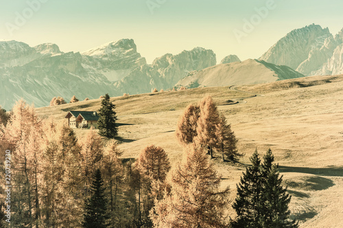 Autumn Vintage Landscape with Mountains - 220739230
