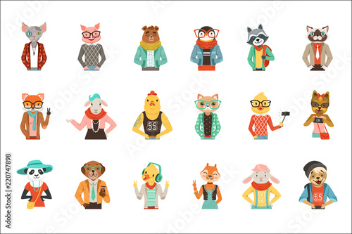 Cute humanized animals in fashion clothes set of vector Illustrations - 220747898