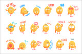 Cute cartoon chickens characters with different emotions and phrases set of vector Illustrations - 220748214