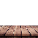 Empty wooden table top on isolated white, Template mock up for display of product. - 220749647