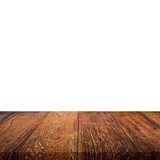 Empty wooden table top on isolated white, Template mock up for display of product. - 220749672