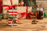 Christmas homemade gingerbread cookies on wooden table - 220751079