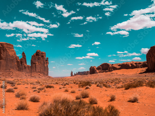 Spotty clouds above monument valley
