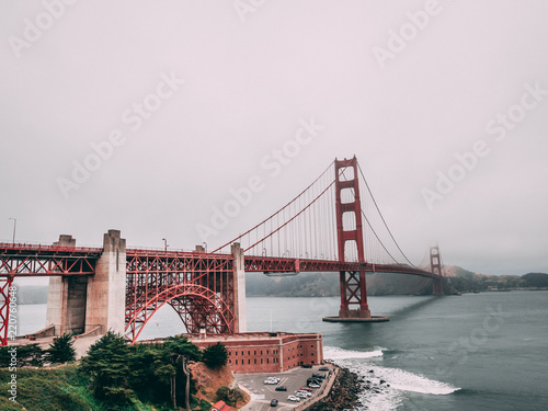 The golden gate bridge on a moody day