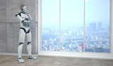 Roboter steht nachdenkend in einem Raum und blickt auf eine Stadt herab.