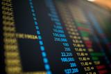 display of stock market exchange board