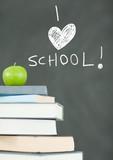 I love school education drawings on blackboard for school with - 220762421