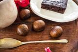 Chestnut and Brownie,Vegan food, homemade/OLYMPUS DIGITAL CAMERA - 220764444