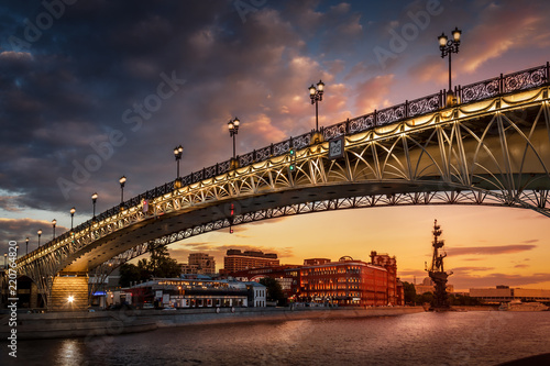 Sunset View of Bridge on Moscow River