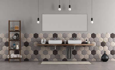 Bathroom with double sink and hexagonal tiles © archideaphoto