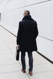 Rear view of man walking with briefcase - 220767800