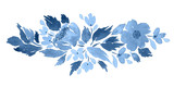 Loose watercolor floral arrangement  in blue. Hand painted composition with camellia flowers - 220771897
