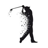 Vector black silhouette of golf player in broken sketch style
