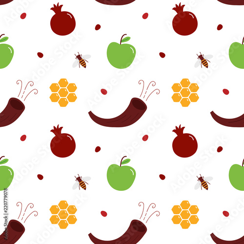 vector seamless pattern background for jewish new year rosh hashanah with apple pomegranate