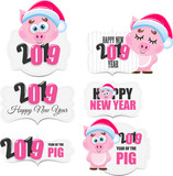 Cute cartoon vector pig icon. Happy New Year. Animal of the Year 2019. - 220781050