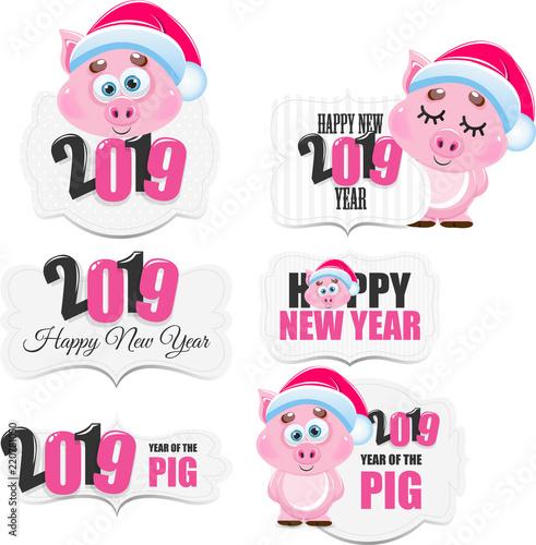 Ikona świnia wektor kreskówka. Szczęśliwego Nowego Roku. Zwierzę Roku 2019.