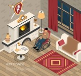 Fire Place Cosiness Isometric Illustration - 220785221