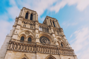 Notre Dame de Paris, amazing medieval cathedral church, one of the most famous tourist attraction in France, long exposure shot