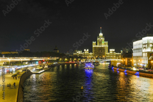 Moscow, Russia - September, 3, 2018: Moscow night cityscape