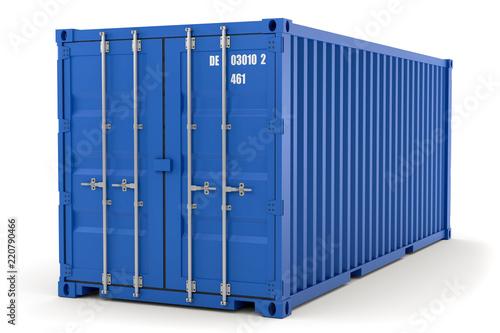 Leinwanddruck Bild 3D Illustration blauer Container aks Illustration