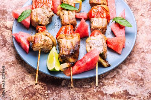 Shish kebab with watermelon - 220790643