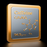 Caffeine. Icon, chemical formula, molecular structure. 3D rendering - 220794202