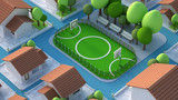 A model of a sports field with a football field. 3d illustration, 3d rendering.