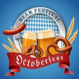 Octoberfest german beer festival concept background. Realistic illustration of octoberfest german beer festival vector concept background for web design - 220808269