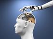 Leinwanddruck Bild - 3D Illustration Roboterhand Kopf mit Zahnräder