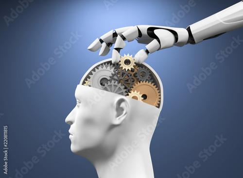 Leinwanddruck Bild 3D Illustration Roboterhand Kopf mit Zahnräder