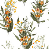 Vintage background. Wallpaper. Blooming realistic isolated flowers. Hand drawn. Vector illustration.Blossom floral seamless pattern. - 220818840