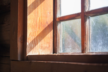 sun shines through the window in the village house