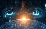 Business man eyes on digital computer binary numbers data cyberspace background. - 220825624