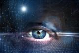 Human eye on artistic digital cyberspace network background. - 220826087