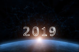 Artistic universe cyberspace with year 2019. Illustration background. - 220826410