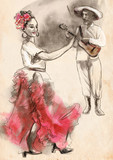Flamenco - An hand painted illustration - 220847869