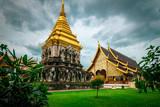 temple wat chiang mai thailand landscape clouds green  - 220848299