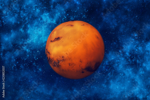 Planet Mars in space. Night sky and stars background. - 220852037