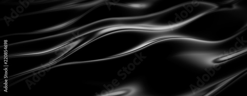 Luxury black drapery fabric background. 3d illustration, 3d rendering. - 220854698