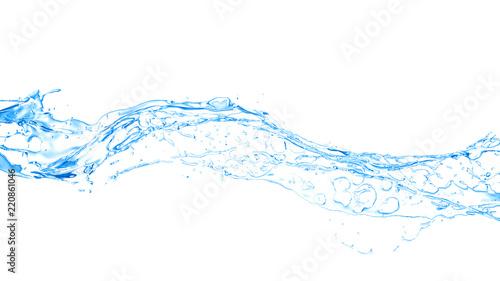 Odosobniony błękitny pluśnięcie wodny chełbotanie na białym tle. 3d ilustracja, 3d rendering.